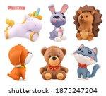 funny little animals. unicorn ... | Shutterstock .eps vector #1875247204