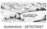 rural meadow. a village...   Shutterstock .eps vector #1875270067