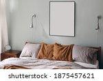 portrait black picture frame... | Shutterstock . vector #1875457621