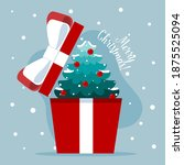 opened gift box with christmas... | Shutterstock .eps vector #1875525094
