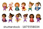 superhero cartoon girls in... | Shutterstock .eps vector #1875558034