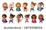 superhero cartoon girls in... | Shutterstock .eps vector #1875558034