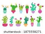 Cartoon Cactus And Succulent...