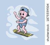 a cute baby boy cartoon is... | Shutterstock .eps vector #1875559504