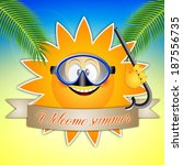 sun with diving mask for... | Shutterstock . vector #187556735