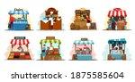 street market stalls and kiosks ...   Shutterstock .eps vector #1875585604