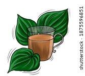 cup of natural herbal kava tea  ...   Shutterstock . vector #1875596851