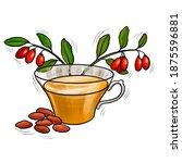 cup of natural herbal goji tea  ... | Shutterstock . vector #1875596881
