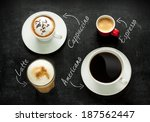 different kinds of coffee on... | Shutterstock . vector #187562447