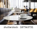 coffee cup on table cafe shop... | Shutterstock . vector #187563731