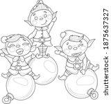 Cute Cartoon Elfs In Hats On...