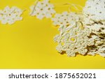 a stack of white knitted... | Shutterstock . vector #1875652021