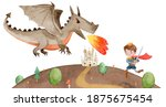 illustration of a prince fights ... | Shutterstock . vector #1875675454