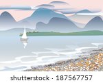 cloudy day on sea. in distance  ... | Shutterstock .eps vector #187567757