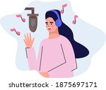 a girl records a song in a... | Shutterstock .eps vector #1875697171