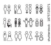 Man And Woman Line Icon Set  ...