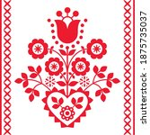 polish floral folk art vector... | Shutterstock .eps vector #1875735037