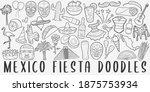 mexico fiesta  doodle icon set. ... | Shutterstock .eps vector #1875753934