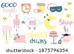 sleep and insomnia doodle set....   Shutterstock .eps vector #1875796354