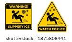 slippery ice sign. slip danger... | Shutterstock .eps vector #1875808441