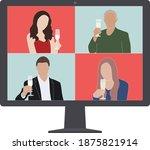 virtual christmas party vector  ... | Shutterstock .eps vector #1875821914