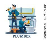 plumber unclogging toilet bowl... | Shutterstock .eps vector #1875878104