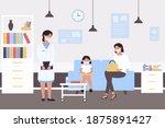 people wait pediatric medical... | Shutterstock .eps vector #1875891427