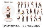 man tourist traveler adventure... | Shutterstock .eps vector #1875892807
