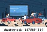 people in open air car cinema... | Shutterstock .eps vector #1875894814