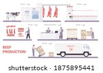beef production on meat factory ... | Shutterstock .eps vector #1875895441