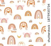 boho rainbow love pattern.... | Shutterstock . vector #1875935734