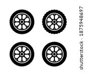 set of tires and wheels icon...   Shutterstock .eps vector #1875948697