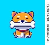 cute shiba inu dog eating bone... | Shutterstock .eps vector #1875950767