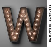Letter W For Sign With Light...