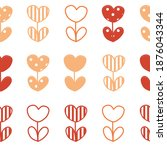 heart flower seamless pattern...   Shutterstock .eps vector #1876043344