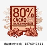 chocolate and cocoa pieces... | Shutterstock .eps vector #1876043611