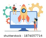 tiny character launching... | Shutterstock .eps vector #1876057714