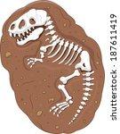 Cartoon Tyrannosaurus rex fossil - stock vector