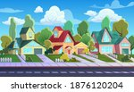 Houses on street of suburb town vector illustration. Cartoon urban townscape with comic exterior of cottage family houses, village asphalt road and sidewalk, streetscape neighbourhood background