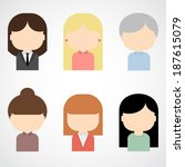 set of colorful female faces... | Shutterstock .eps vector #187615079