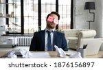 Tired Sleepy Businessman With...