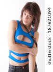 sexy model in cut out top and... | Shutterstock . vector #187621094