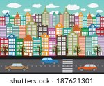 colorful cityscape  town city... | Shutterstock .eps vector #187621301