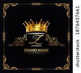 luxury royal floral letter z... | Shutterstock .eps vector #1876437661