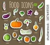 food vegetables doodle stickers ... | Shutterstock .eps vector #187645535