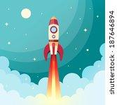 space rocket flying in space... | Shutterstock .eps vector #187646894