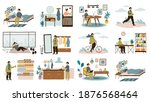 daily man routine. everyday... | Shutterstock .eps vector #1876568464