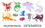 magic dragons. fantasy funny... | Shutterstock .eps vector #1876568524