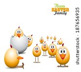 Funny Easter eggs chicks - background illustration - Happy easter card - stock vector