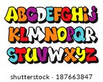 colorful comics graffiti style... | Shutterstock .eps vector #187663847
